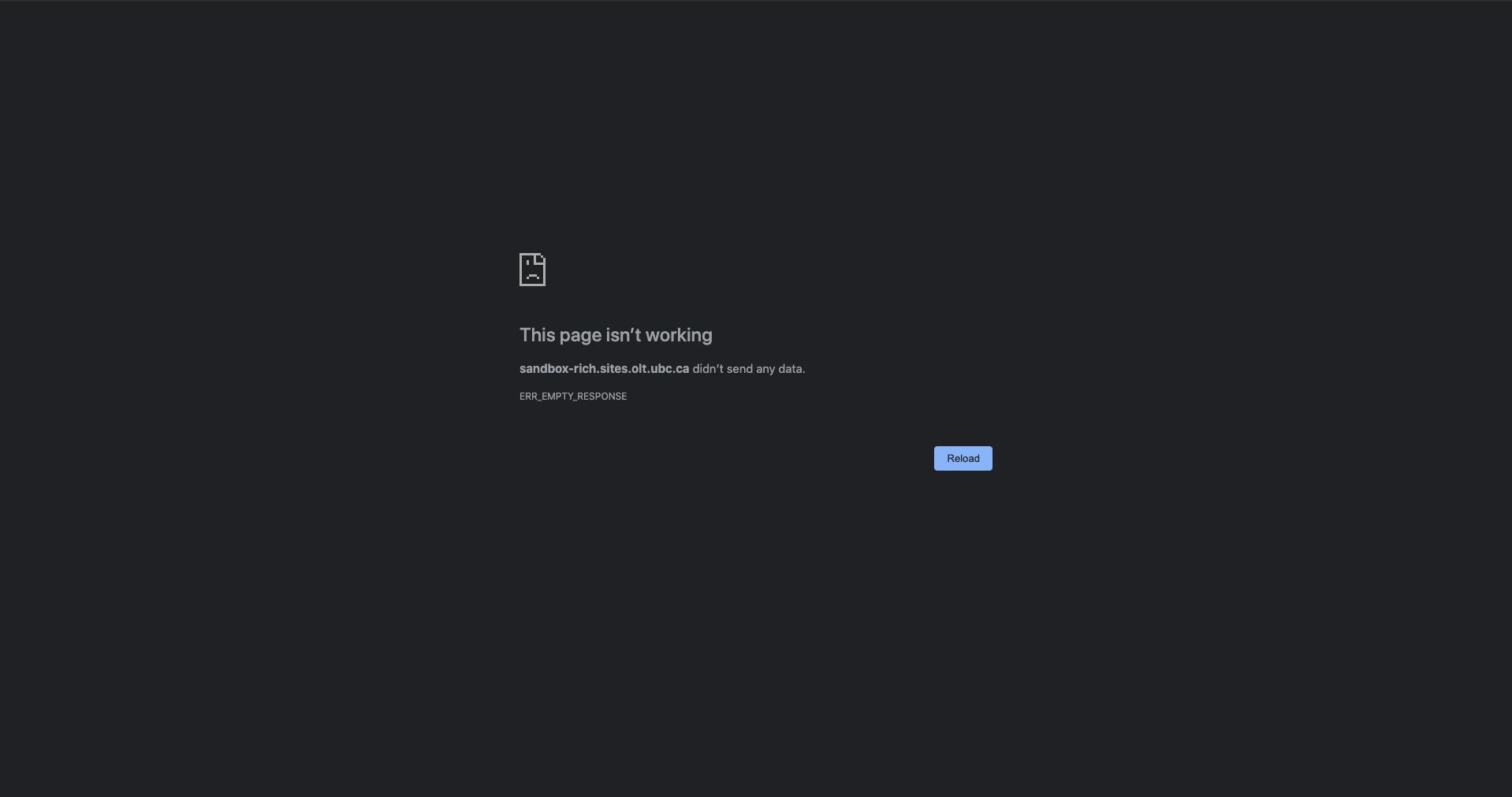 """A screenshot of a browser window showing an error """"ERR_EMPTY_RESPONSE"""""""