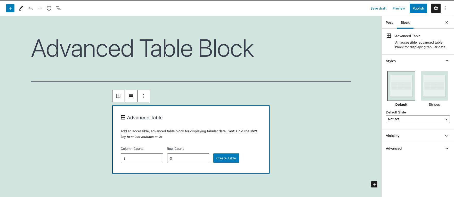 Screenshot showing the advanced table block setup screen allowing a user to choose the number of columns and rows for the table